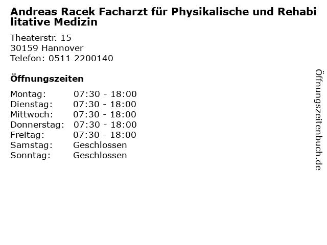 Andreas Racek Facharzt für Physikalische und Rehabilitative Medizin in Hannover: Adresse und Öffnungszeiten