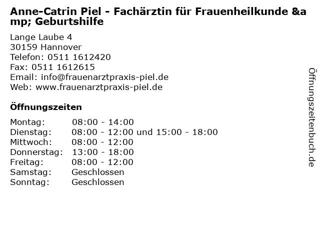 Anne-Catrin Piel - Fachärztin für Frauenheilkunde & Geburtshilfe in Hannover: Adresse und Öffnungszeiten