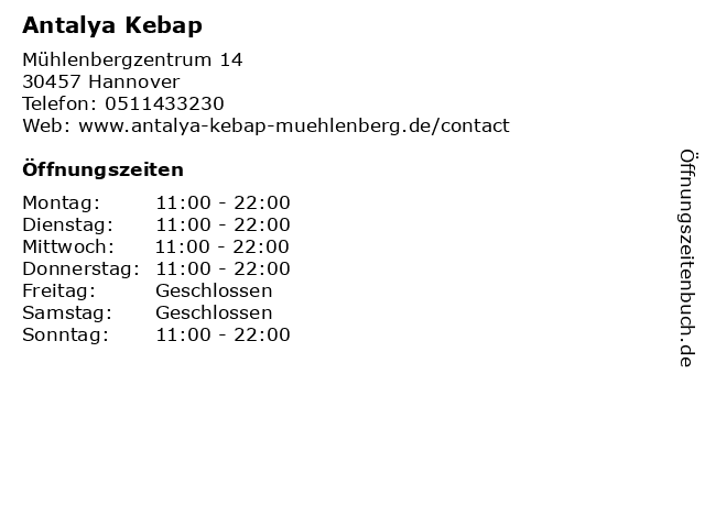 Antalya Kebap in Hannover: Adresse und Öffnungszeiten
