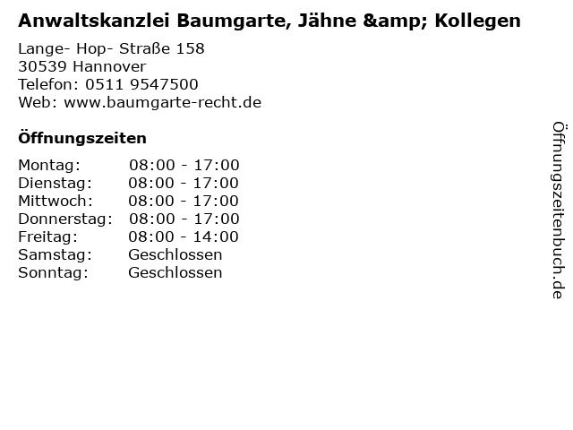 Anwaltskanzlei Baumgarte, Jähne & Kollegen in Hannover: Adresse und Öffnungszeiten