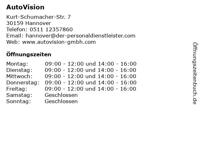 ᐅ öffnungszeiten Autovision Kurt Schumacher Str 7 In Hannover
