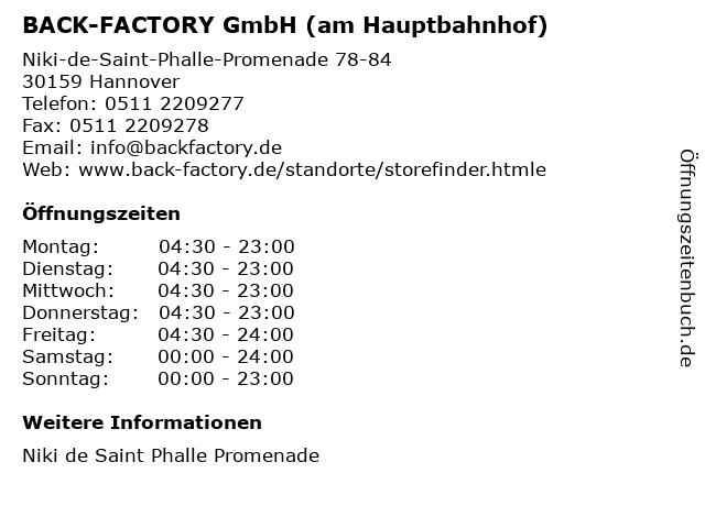 BACK-FACTORY GmbH (am Hauptbahnhof) in Hannover: Adresse und Öffnungszeiten