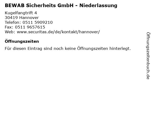 BEWAB Sicherheits GmbH - Niederlassung in Hannover: Adresse und Öffnungszeiten