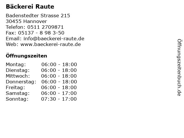 Bäckerei Raute in Hannover: Adresse und Öffnungszeiten