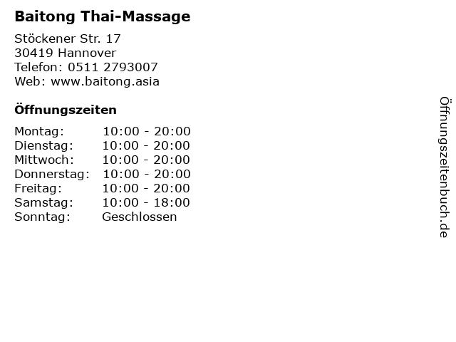 Baitong Thai-Massage in Hannover: Adresse und Öffnungszeiten