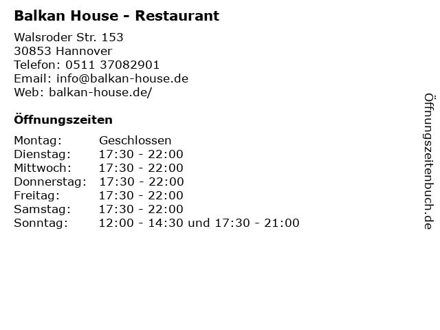 Balkan House in Hannover: Adresse und Öffnungszeiten