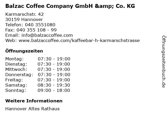 Balzac Coffee Company GmbH & Co. KG in Hannover: Adresse und Öffnungszeiten