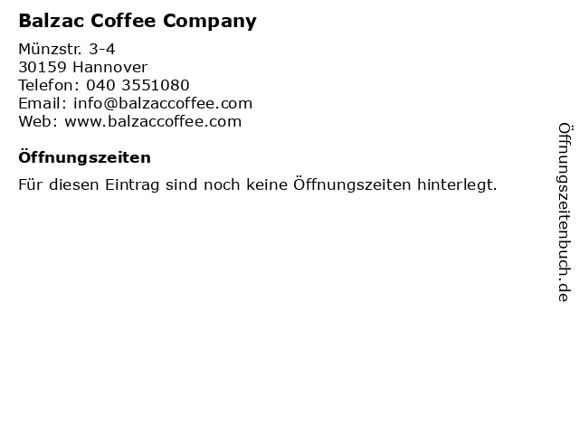 Balzac Coffee Company in Hannover: Adresse und Öffnungszeiten