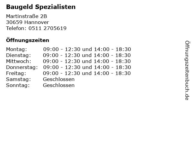 Baugeld Spezialisten in Hannover: Adresse und Öffnungszeiten