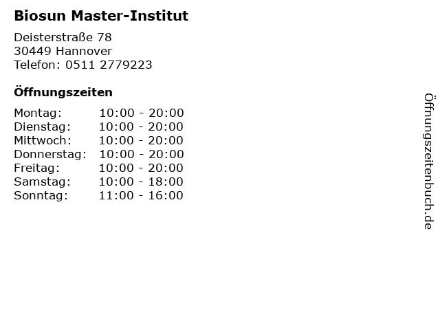 Biosun Master-Institut in Hannover: Adresse und Öffnungszeiten