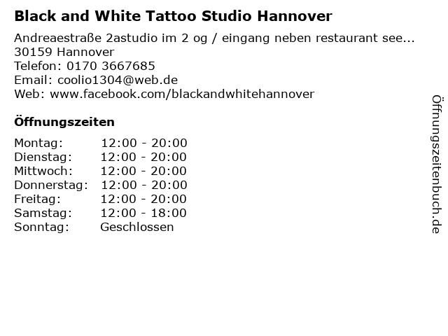 Black and White Tattoo Studio Hannover in Hannover: Adresse und Öffnungszeiten