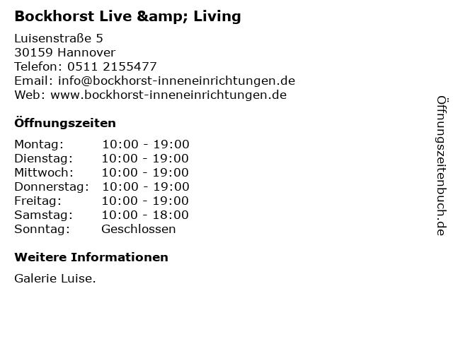 Bockhorst Live & Living in Hannover: Adresse und Öffnungszeiten