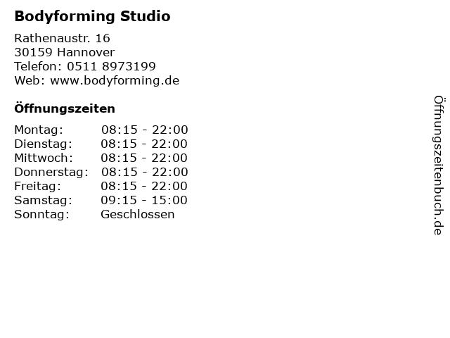 Bodyforming Studio in Hannover: Adresse und Öffnungszeiten