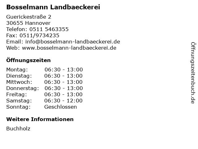 Bosselmann Landbaeckerei in Hannover: Adresse und Öffnungszeiten