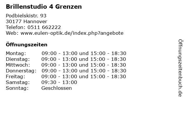 Brillenstudio 4 Grenzen in Hannover: Adresse und Öffnungszeiten