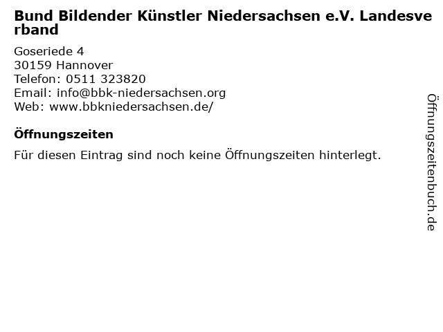Bund Bildender Künstler Niedersachsen e.V. Landesverband in Hannover: Adresse und Öffnungszeiten