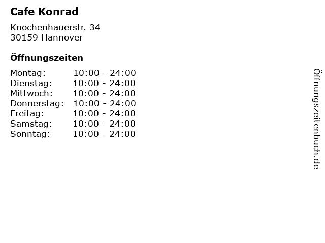 Cafe Konrad in Hannover: Adresse und Öffnungszeiten