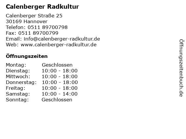 Calenberger Radkultur in Hannover: Adresse und Öffnungszeiten