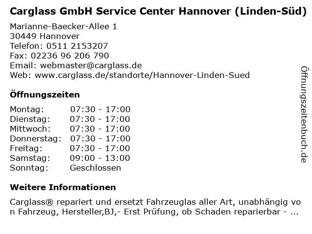 Carglass GmbH Service Center Hannover (Linden-Süd) in Hannover: Adresse und Öffnungszeiten