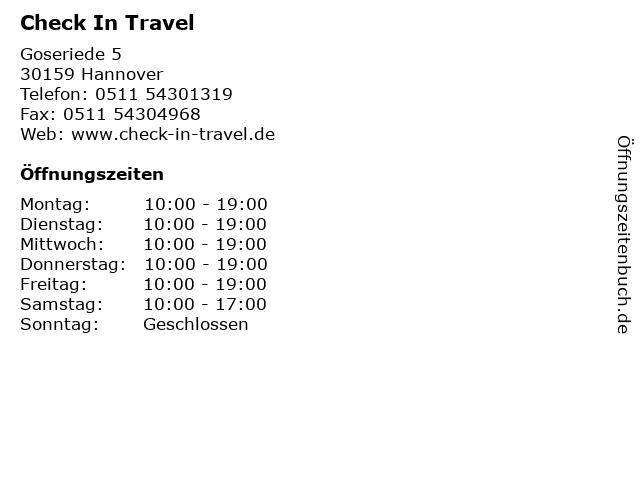 Check In Travel in Hannover: Adresse und Öffnungszeiten