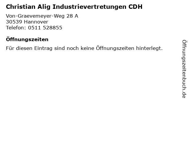 Christian Alig Industrievertretungen CDH in Hannover: Adresse und Öffnungszeiten