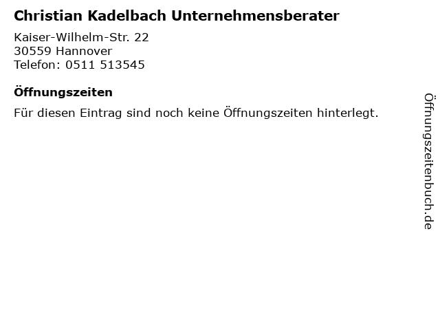Christian Kadelbach Unternehmensberater in Hannover: Adresse und Öffnungszeiten
