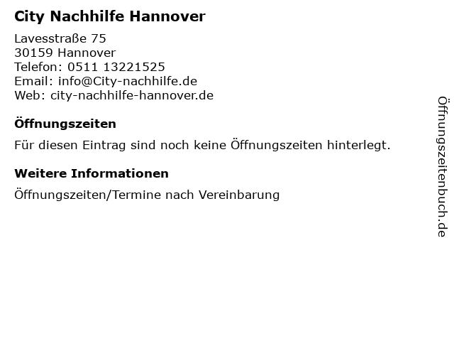 City Nachhilfe Hannover in Hannover: Adresse und Öffnungszeiten