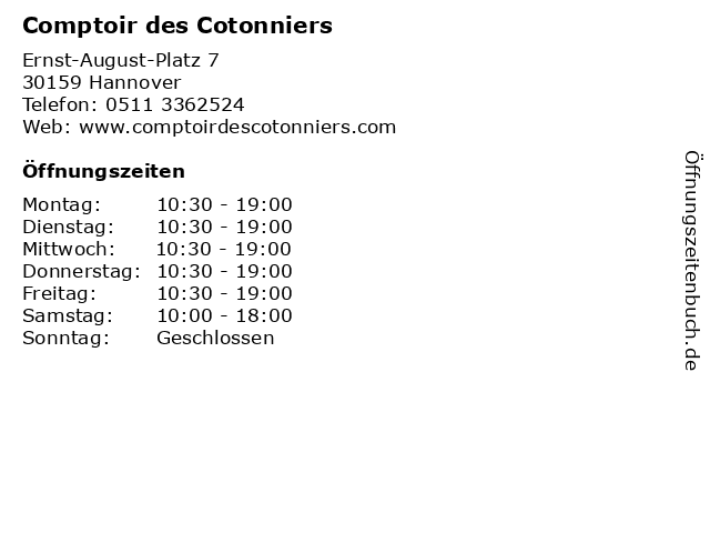 Comptoir des Cotonniers in Hannover: Adresse und Öffnungszeiten