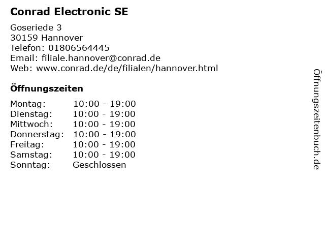 Conrad Electronic SE in Hannover: Adresse und Öffnungszeiten