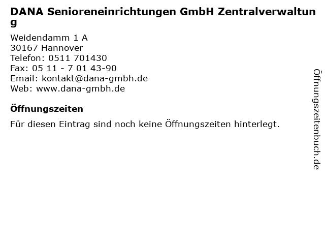 DANA Senioreneinrichtungen GmbH Zentralverwaltung in Hannover: Adresse und Öffnungszeiten
