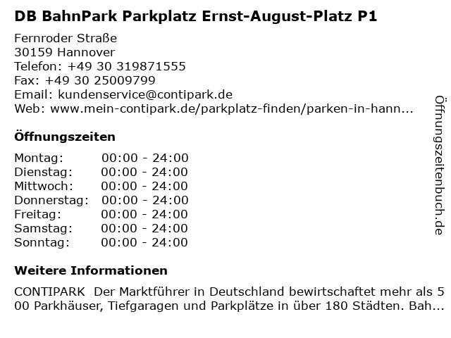 DB BahnPark Parkplatz Ernst-August-Platz P1 in Hannover: Adresse und Öffnungszeiten