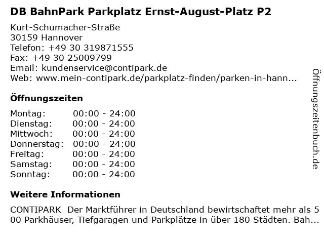 DB BahnPark Parkplatz Ernst-August-Platz P2 in Hannover: Adresse und Öffnungszeiten