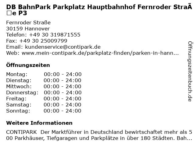 DB BahnPark Parkplatz Hauptbahnhof Fernroder Straße P3 in Hannover: Adresse und Öffnungszeiten