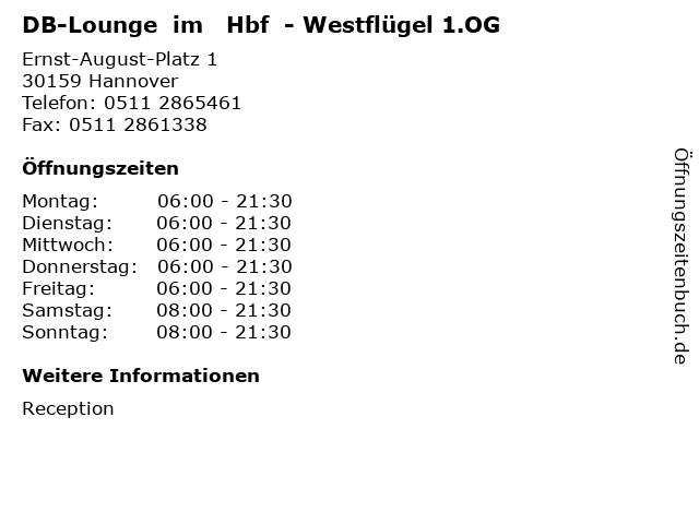DB-Lounge  im   Hbf  - Westflügel 1.OG in Hannover: Adresse und Öffnungszeiten