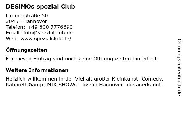 DESiMOs spezial Club in Hannover: Adresse und Öffnungszeiten