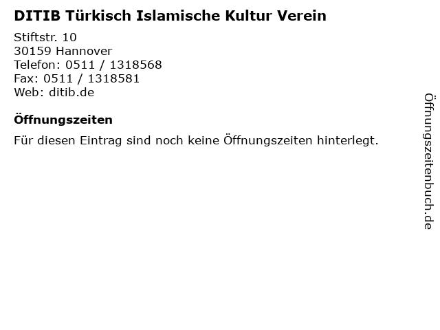DITIB Türkisch Islamische Kultur Verein in Hannover: Adresse und Öffnungszeiten