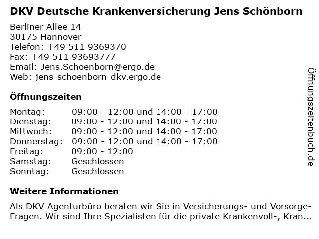 DKV Deutsche Krankenversicherung Jens Schönborn in Hannover: Adresse und Öffnungszeiten