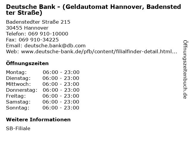 ᐅ öffnungszeiten Deutsche Bank Geldautomat Hannover