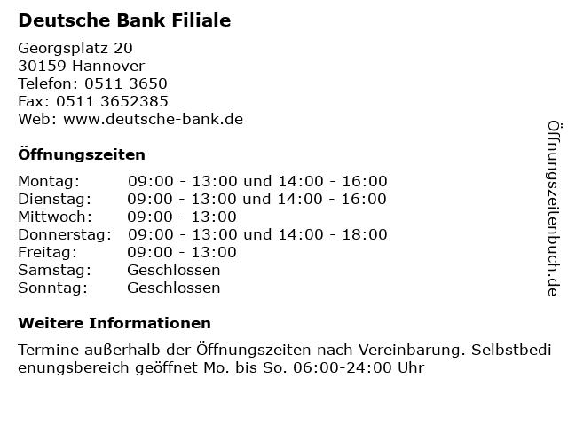 ᐅ öffnungszeiten Deutsche Bank Filiale Georgsplatz 20 In Hannover