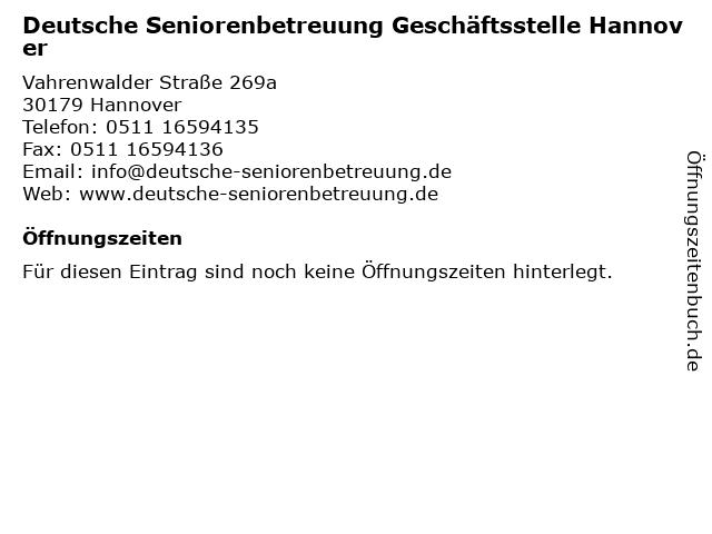 Deutsche Seniorenbetreuung Geschäftsstelle Hannover in Hannover: Adresse und Öffnungszeiten