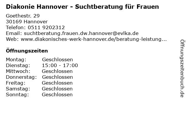 Diakonie Hannover - Suchtberatung für Frauen in Hannover: Adresse und Öffnungszeiten