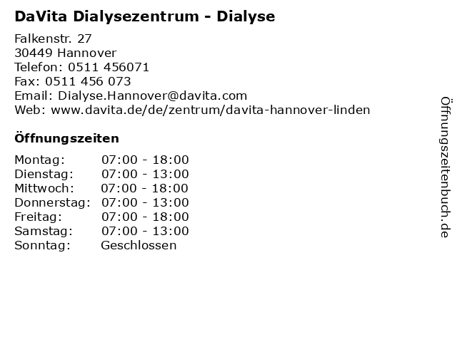 Dialysezentrum Hannover-Linden in Hannover: Adresse und Öffnungszeiten