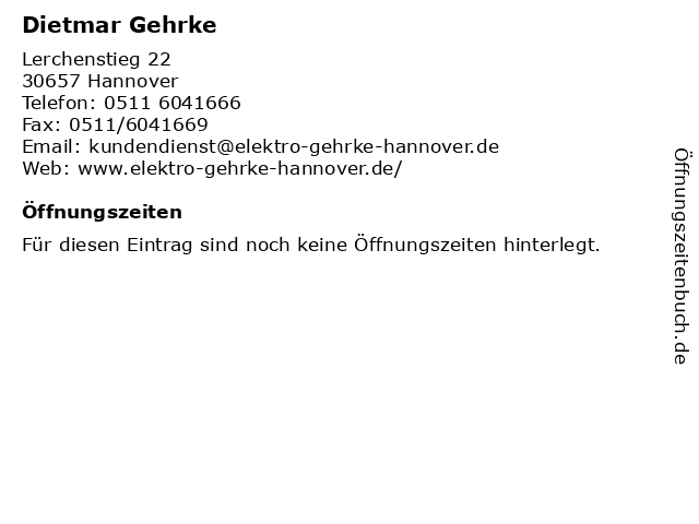 Dietmar Gehrke in Hannover: Adresse und Öffnungszeiten