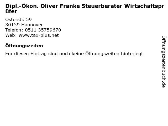 Dipl.-Ökon. Oliver Franke Steuerberater Wirtschaftsprüfer in Hannover: Adresse und Öffnungszeiten