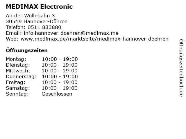 MEDIMAX Electronic in Hannover-Döhren: Adresse und Öffnungszeiten