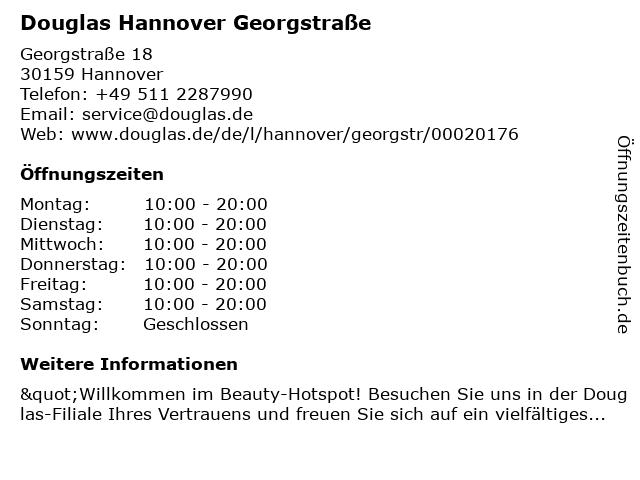 Parfümerie Douglas Hannover in Hannover: Adresse und Öffnungszeiten
