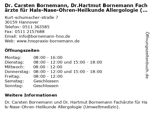 ᐅ öffnungszeiten Dr Carsten Bornemann Drhartmut Bornemann