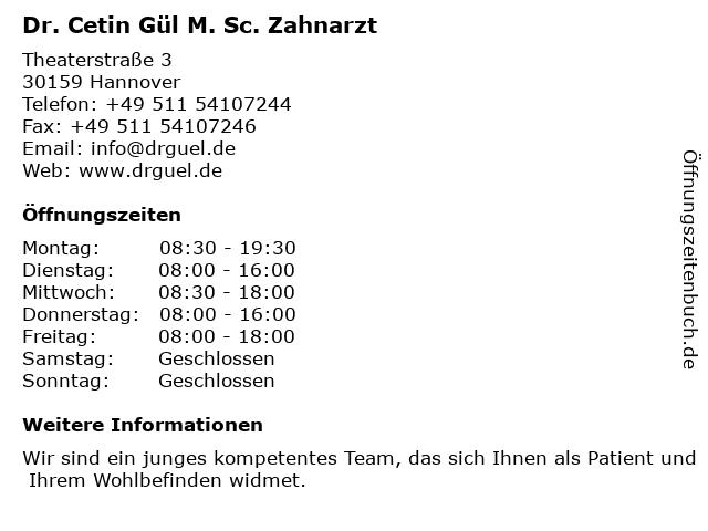 Dr. Cetin Gül M. Sc. Zahnarzt in Hannover: Adresse und Öffnungszeiten