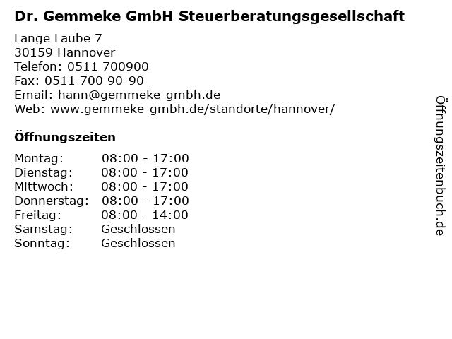 Dr. Gemmeke GmbH Steuerberatungsgesellschaft in Hannover: Adresse und Öffnungszeiten