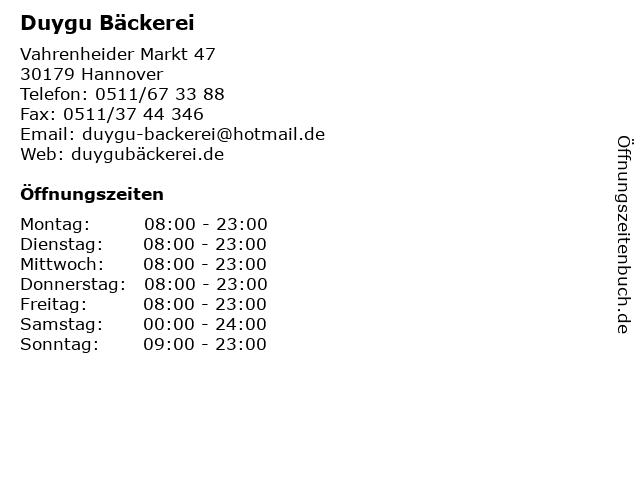 Duygu Bäckerei in Hannover: Adresse und Öffnungszeiten